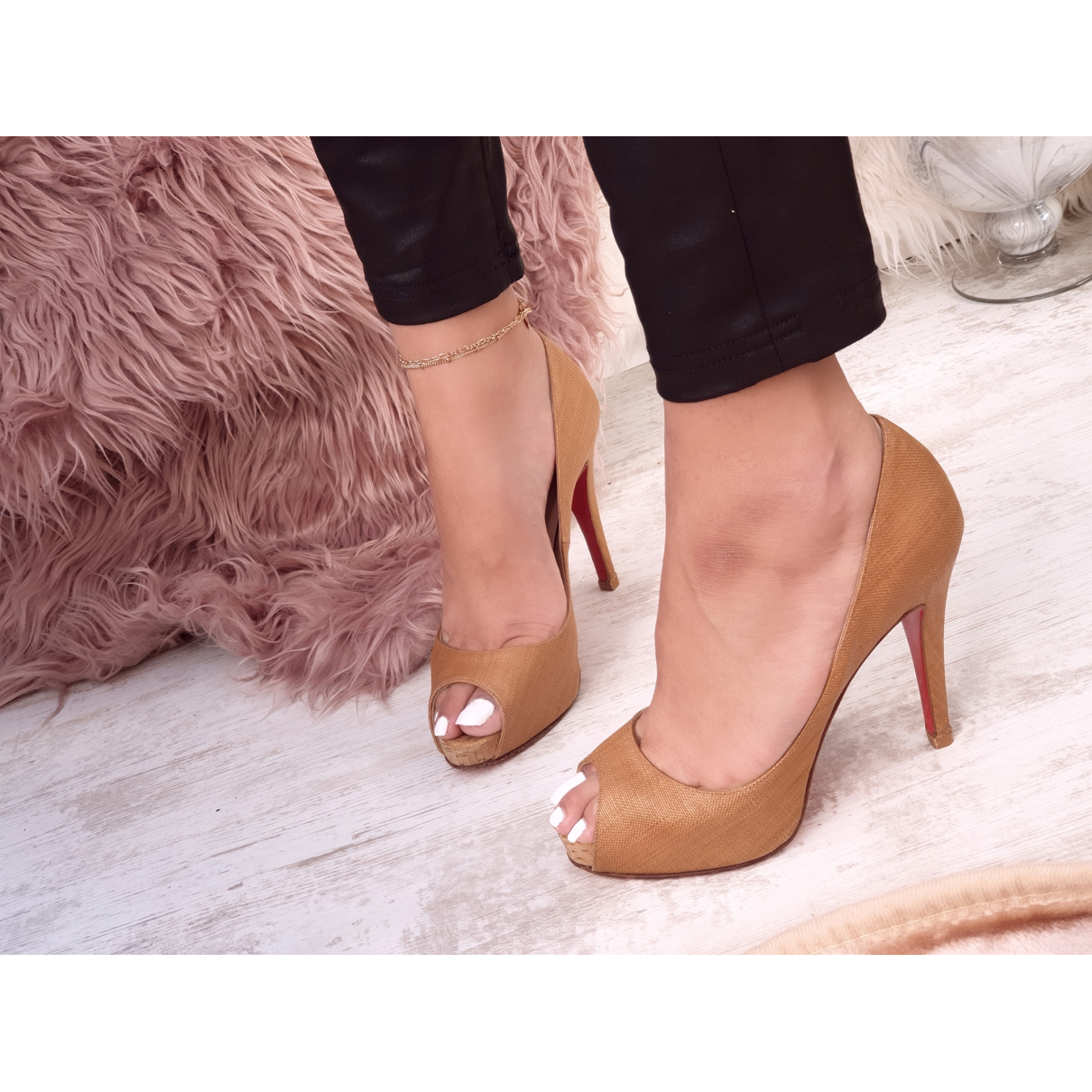 Christian Louboutin Very Privé Brown Cloth Heels for Women 38.5 EU