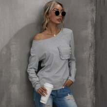 Solid Frill Trim Pocket Front Tee