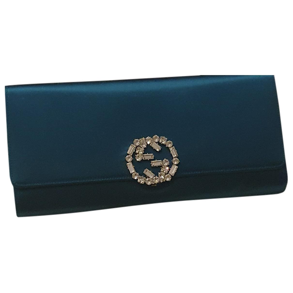 Gucci - Pochette Interlocking pour femme en toile - turquoise