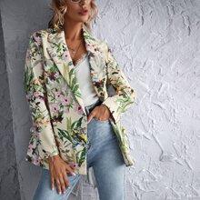 Zweireihiger Blazer mit Blumen Muster