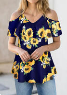 Sunflower Cold Shoulder Blouse without Necklace - Navy Blue