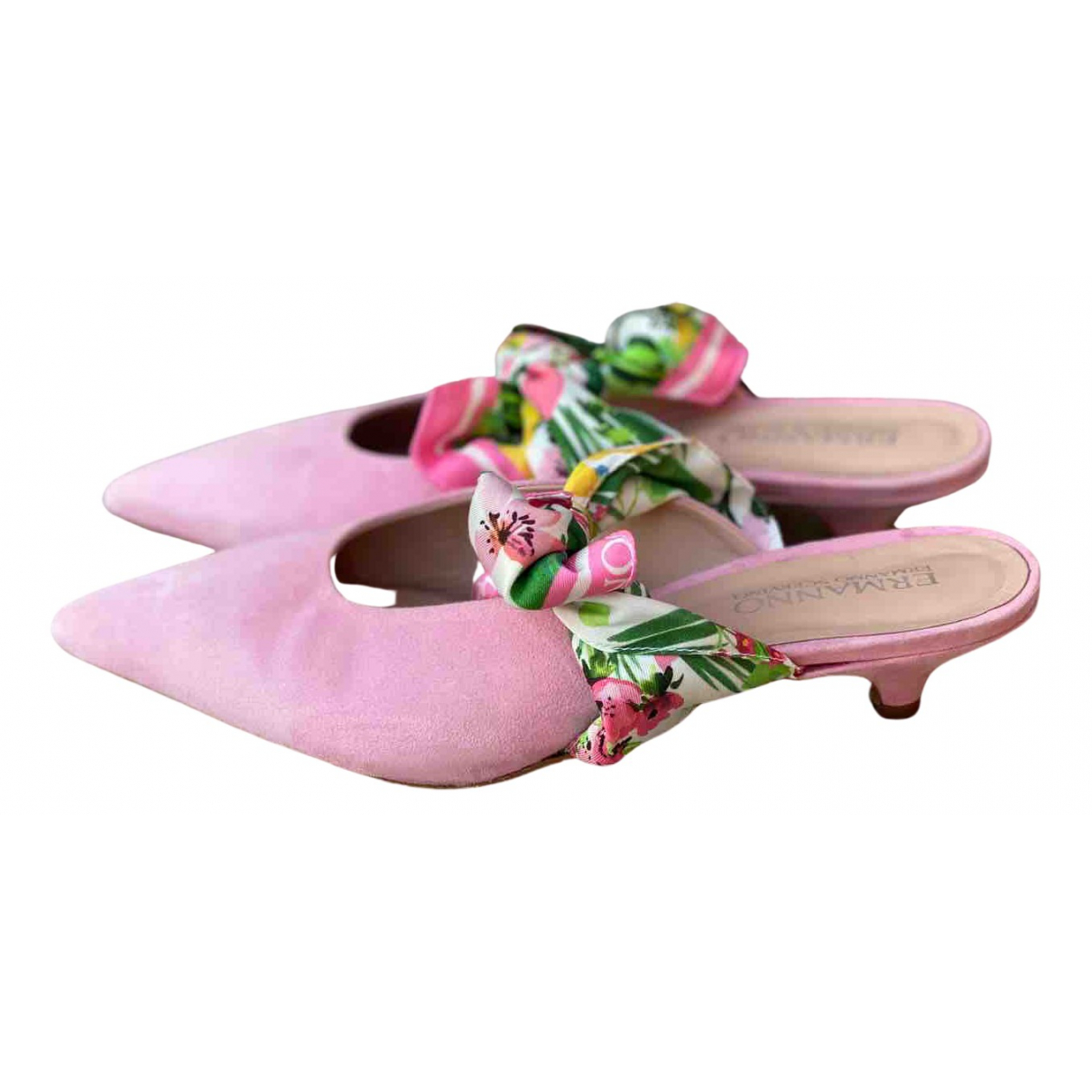 Ermanno Scervino N Pink Suede Mules & Clogs for Women 38 EU