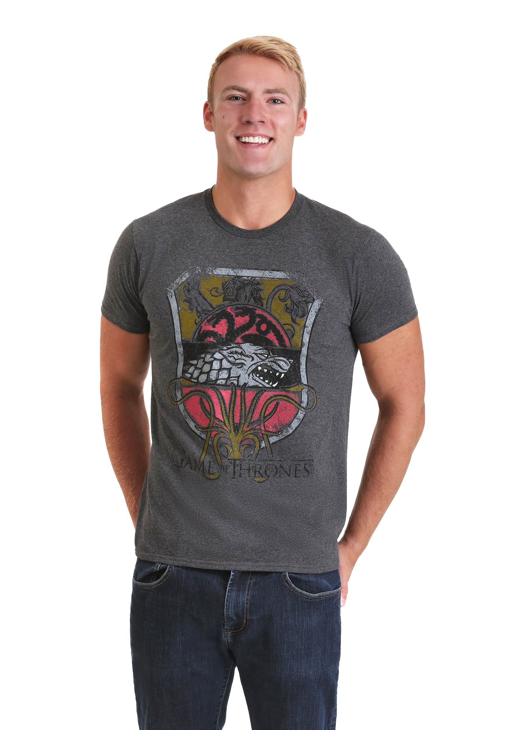 Men's Game of Thrones All Houses Sigil Gray T-Shirt