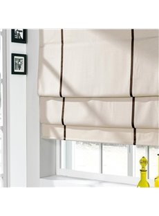 Contemporary Beige Cotton and Linen Blending Flat-Shaped Roman Shades