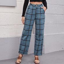 Pantalones de cuadros bajo de doblez