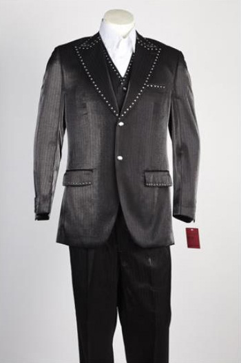Mens 2 Piece Single Breasted Suit Black