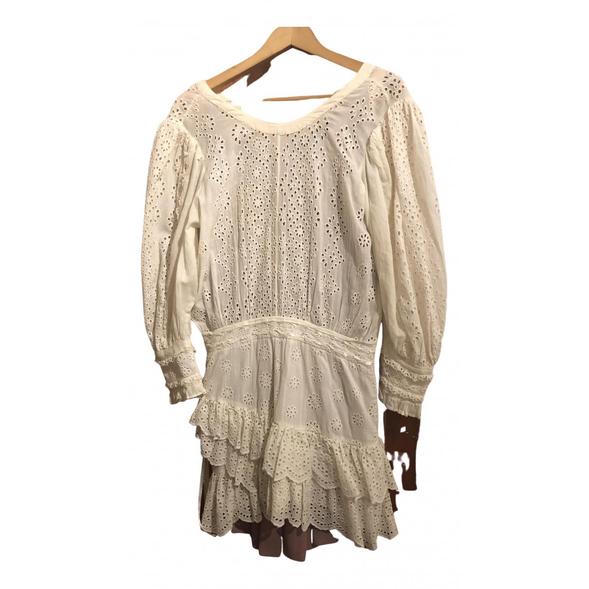 Love Shack Fancy \N Kleid in  Ecru Viskose