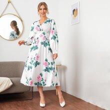 Kleid mit V Kragen, Laternenaermeln und Blumen Muster