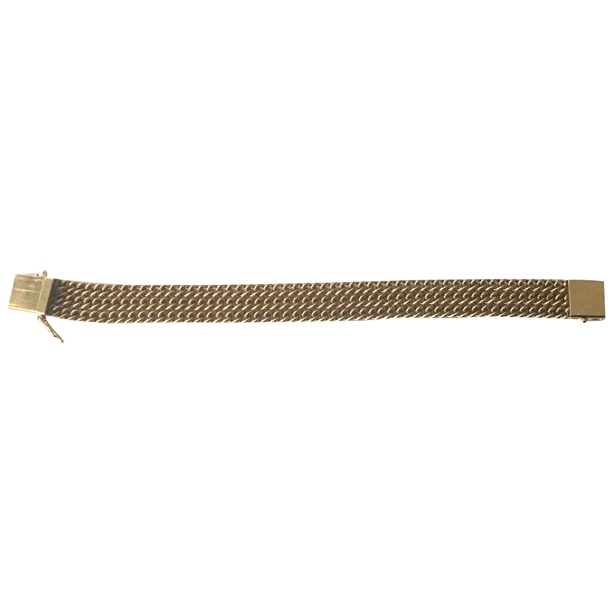 Non Signe / Unsigned  Maille Americaine Armband in  Gold Vergoldet