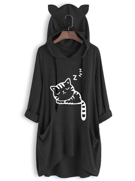 Milanoo Women Hoodie Dresses Blue Hooded 3/4 Length Sleeves Cat Lace Up Long Hooded Sweatshirt With Pockets