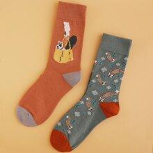 2 pares calcetines de hombres con dibujos animados