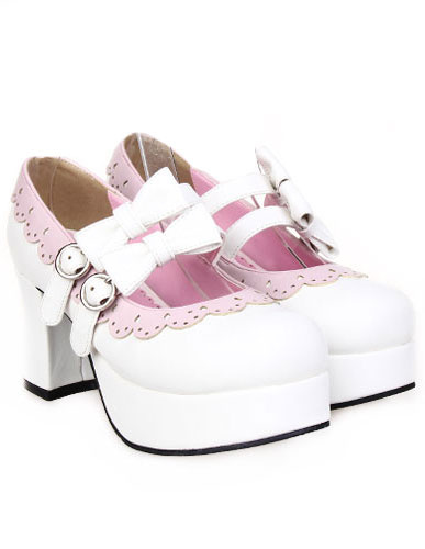 Milanoo White Buckled Lolita Shoes