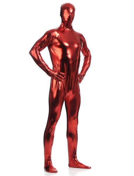 Milanoo Dark Red Zentai Suit Adults Full Body Shiny Metallic Bodysuit for Men