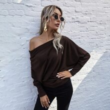 Solid Rib-Knit Batwing Sleeve Sweater