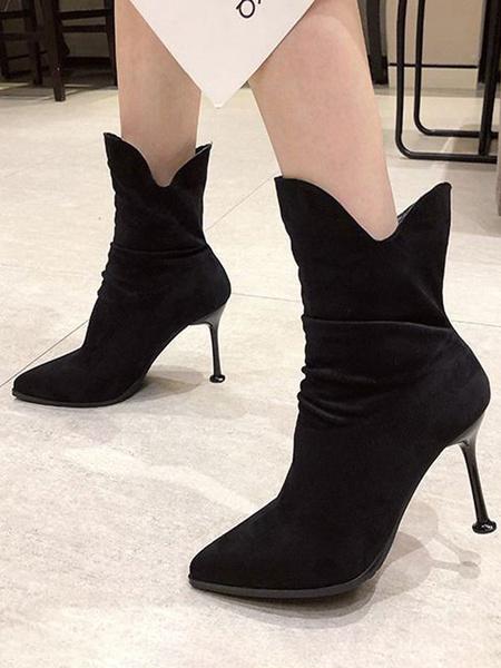 Milanoo Women Ankle Boots Black Suede Leather Round Toe Stiletto Heel 3.5 Booties