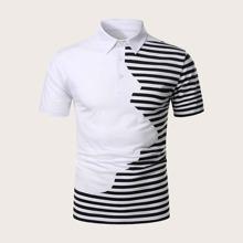 Men Two Tone Stripe Polo Shirt