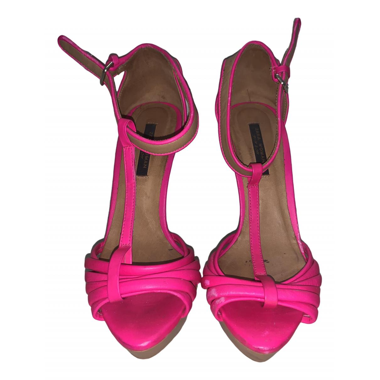 Zara \N Pink Leather Heels for Women 38 EU