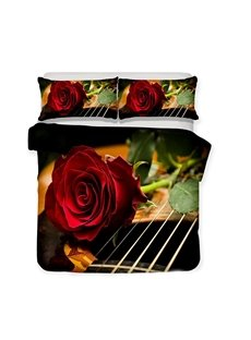 A Red Rose On The Guitar String Printed 3-Piece Bedding Sets/Duvet Covers