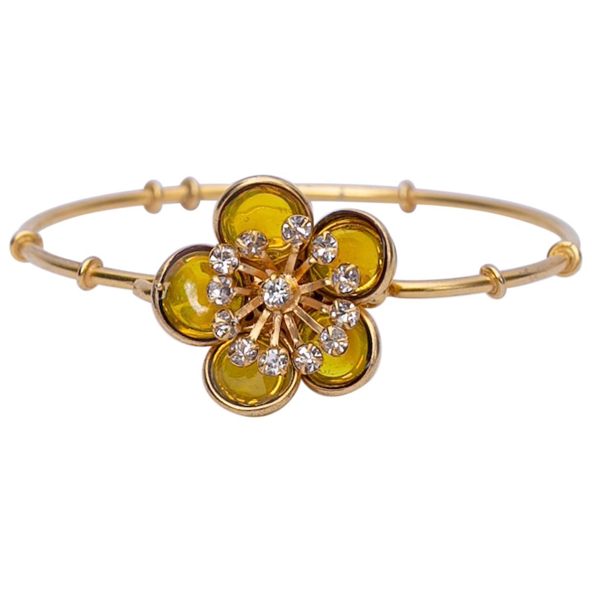 - Bracelet Motifs Floraux pour femme en verre - jaune