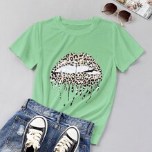 Leopard Mouth Print Short Sleeve Tee