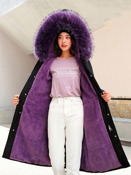 Milanoo Abrigo acolchado para mujer Abrigos de invierno con cordon de manga larga con capucha de piel verde