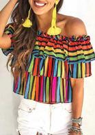 Presale - Colorful Serape Striped Color Block Splicing Layered Blouse