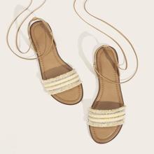 Fringe Trim Tit Up Sandals