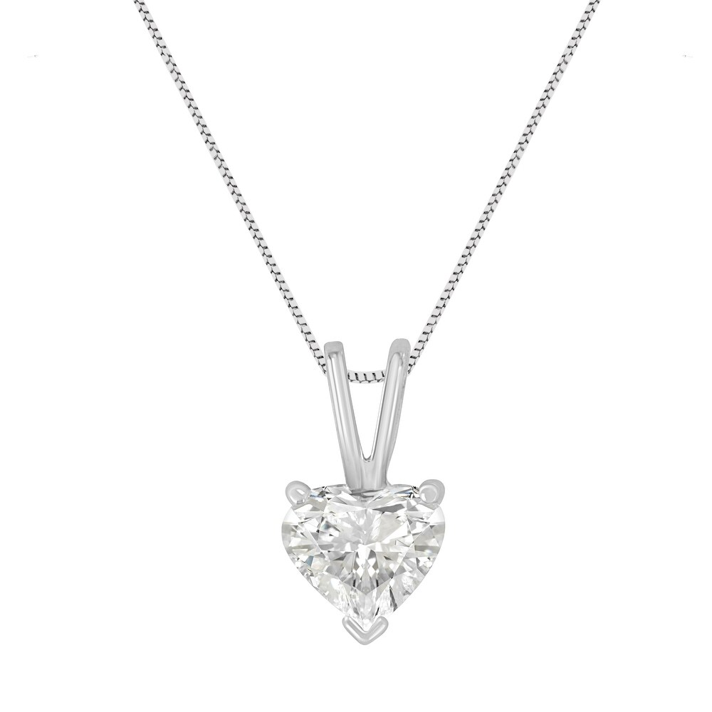 AGS Certified 14K White Gold 1/2 cttw 3-Prong Set Heart Shaped Solitaire Diamond 18