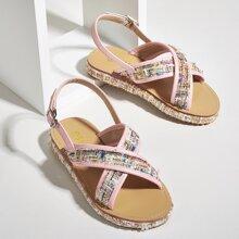 Toddler Girls Criss Cross Tweed Sandals
