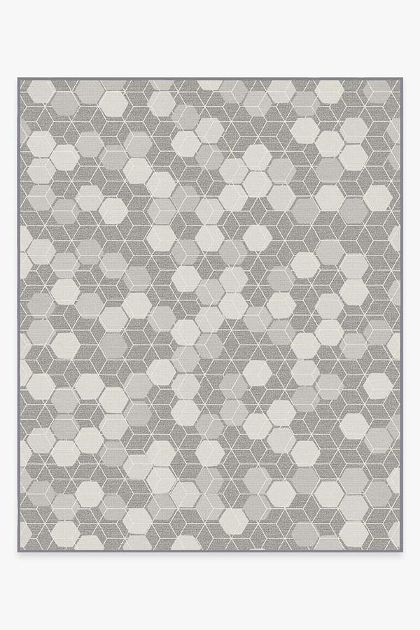 Washable Rug Cover & Pad | Outdoor Honeycomb Grey Rug | Stain-Resistant | Ruggable | 8'x10'