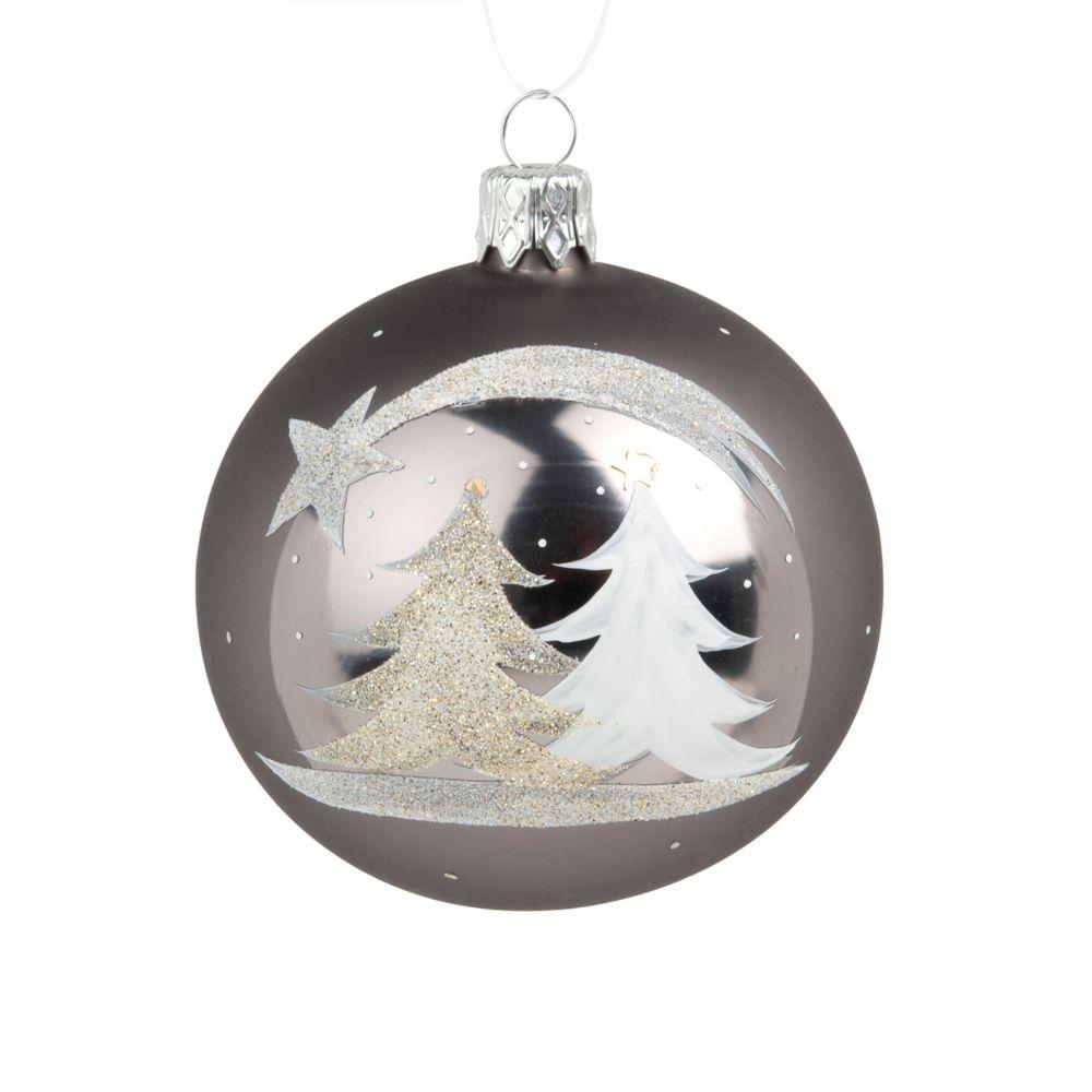 Weihnachtskugel aus Glas, bedruckt mit Tanne und Sternschnuppe