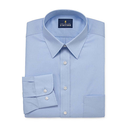 Stafford Mens Wrinkle Free Stain Resistant Stretch Super Dress Shirt, 17 32-33, Blue
