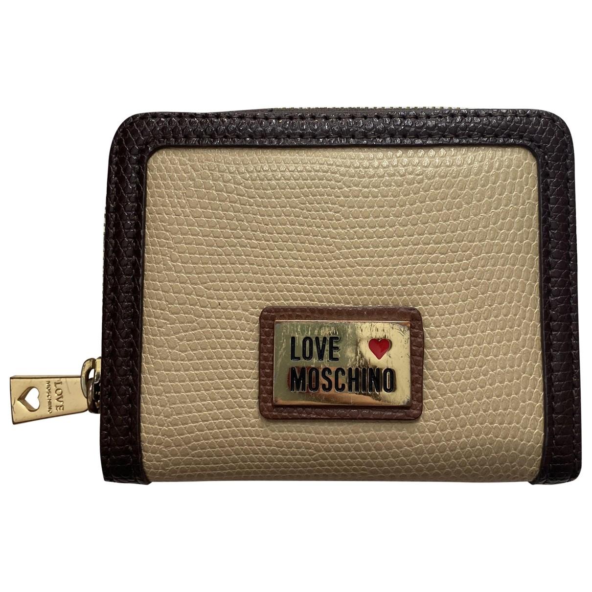 Moschino Love - Petite maroquinerie   pour femme en cuir - beige