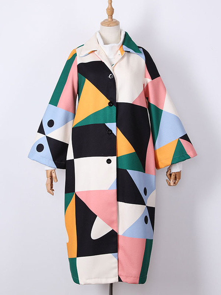Milanoo Abrigo para mujer Verde Cuello vuelto Mangas largas Botones Abrigo de lana con bloques de colores geometricos