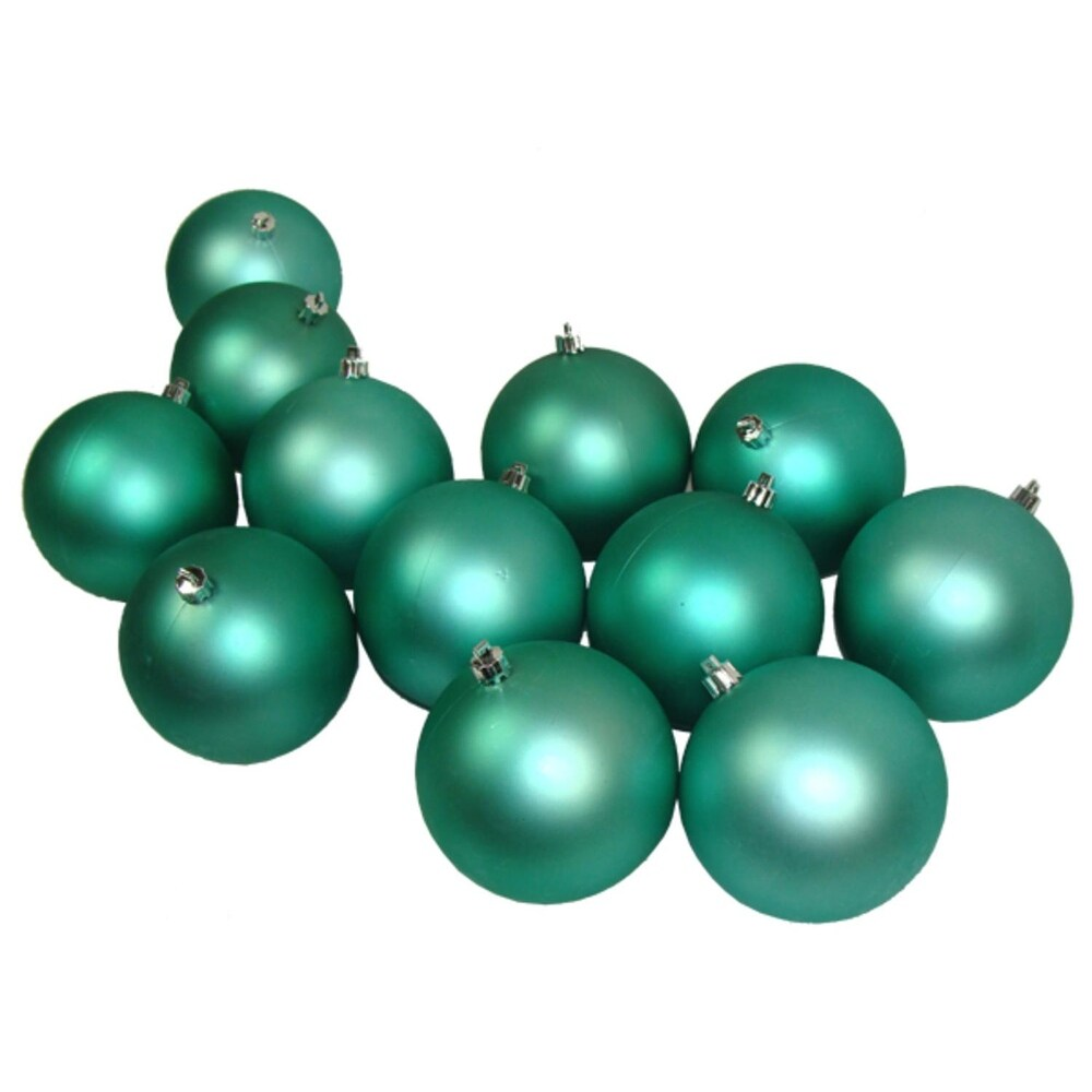 12ct Seafoam Green Shatterproof Matte Christmas Ball Ornaments 4