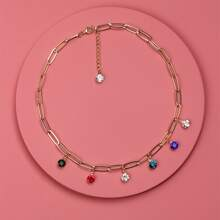 Halskette mit Strass Anhaenger und Kette