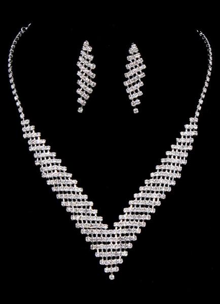 Milanoo Wedding Jewelry Set Silver Rhinestone Bridal Drop Earring With Necklace