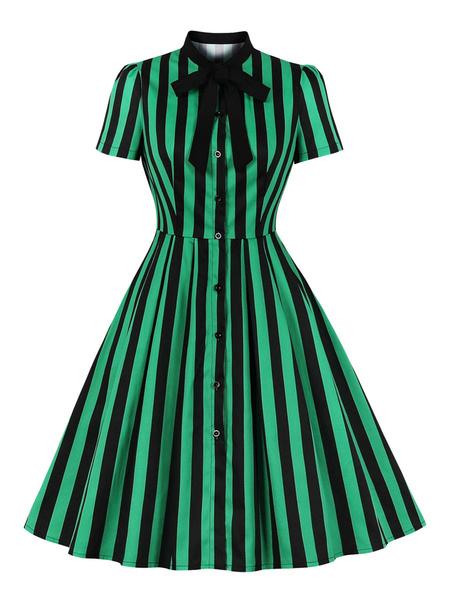 Milanoo Vestido retro rojo de los años 50 Cuello alto Lazos Rayas Manga corta en capas Vestido de swing estampado