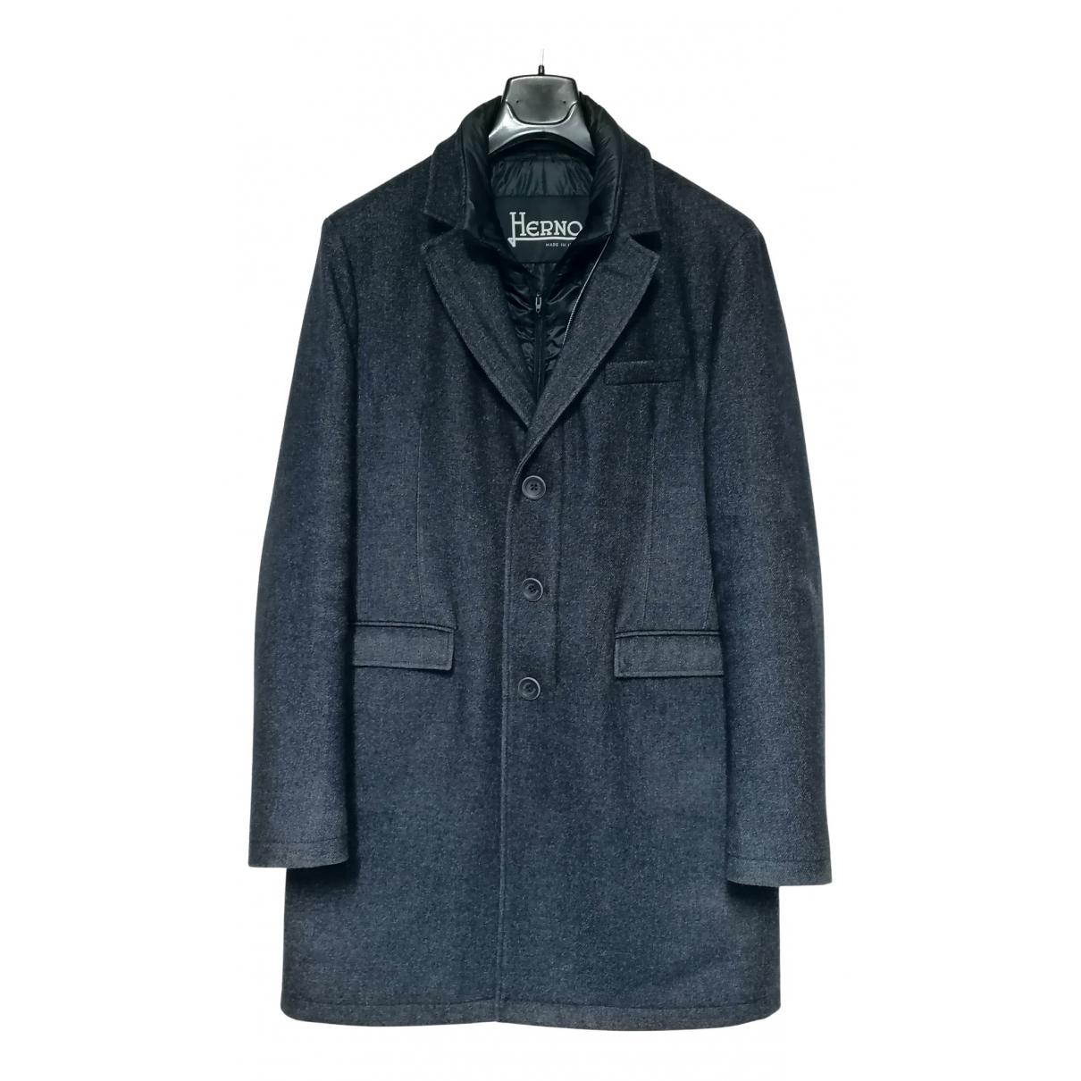 Herno N Blue Wool coat  for Men 52 IT