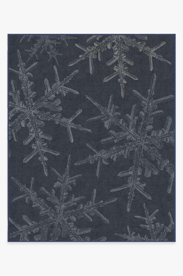 Washable Rug Cover | Snowflake Navy Rug | Stain-Resistant | Ruggable | 8'x10'