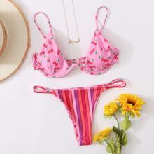 Cherry & Striped Underwire Thong Bikini Swimsuit