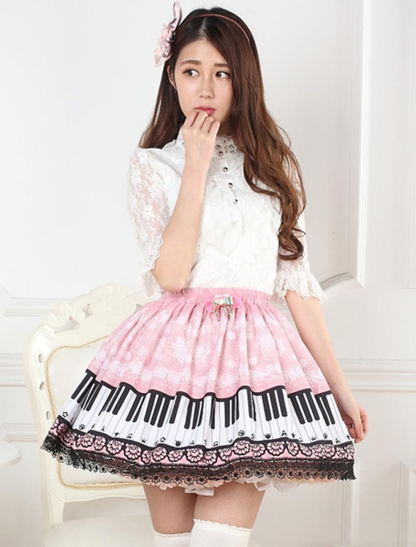 Milanoo Sweet Pink Piano Print Lolita Skirt Lace Trim