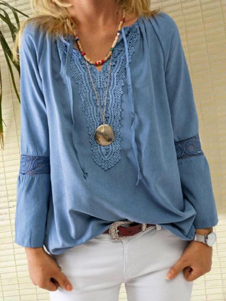 Solid Color Lace Patchwork Drawstring V-neck Blouse