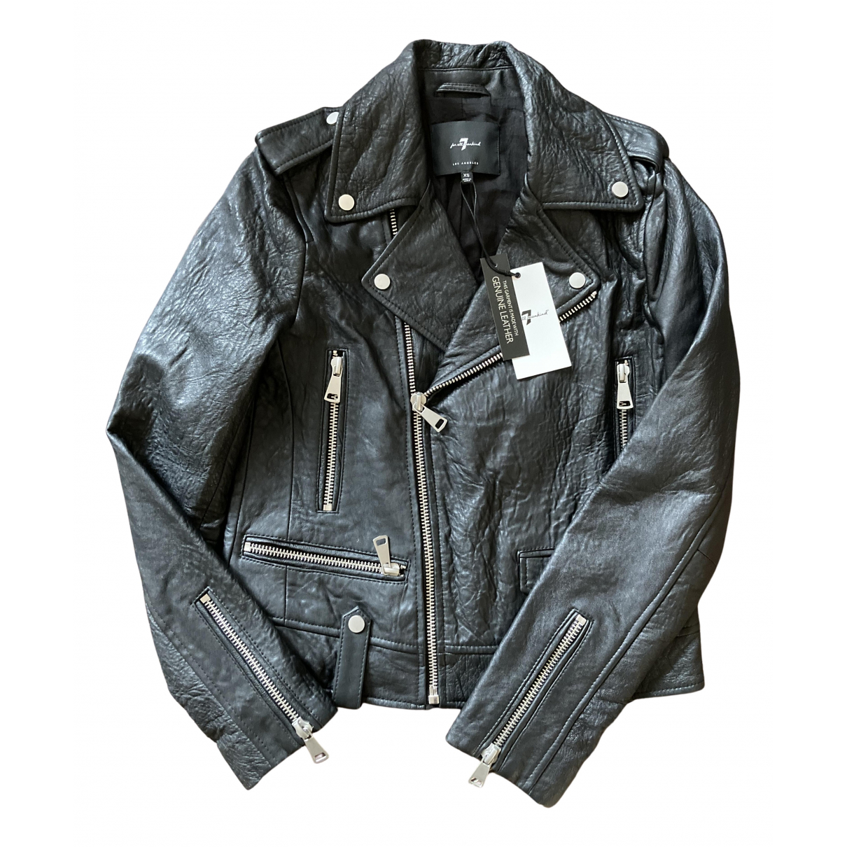 7 For All Mankind N Black Leather Leather jacket for Women XS International