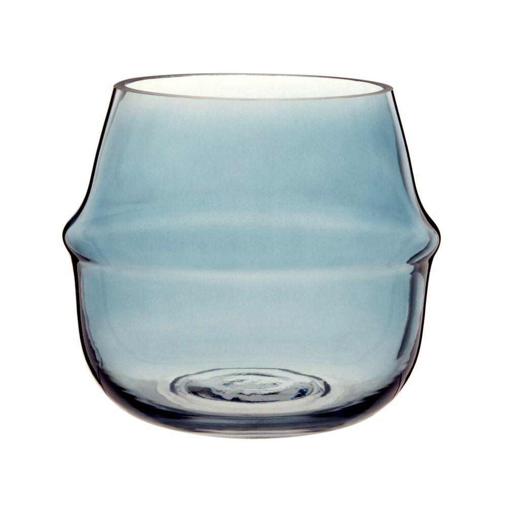 Windlicht aus blau getontem Glas