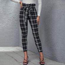 Pantalones de cuadros con lazo de cintura con volante