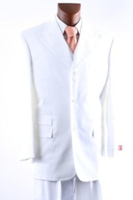 Mens 3 Button Supers Vested Suit Peak Lapel and Wide Leg