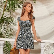 Tie Front Shirred Back Ditsy Floral Dress