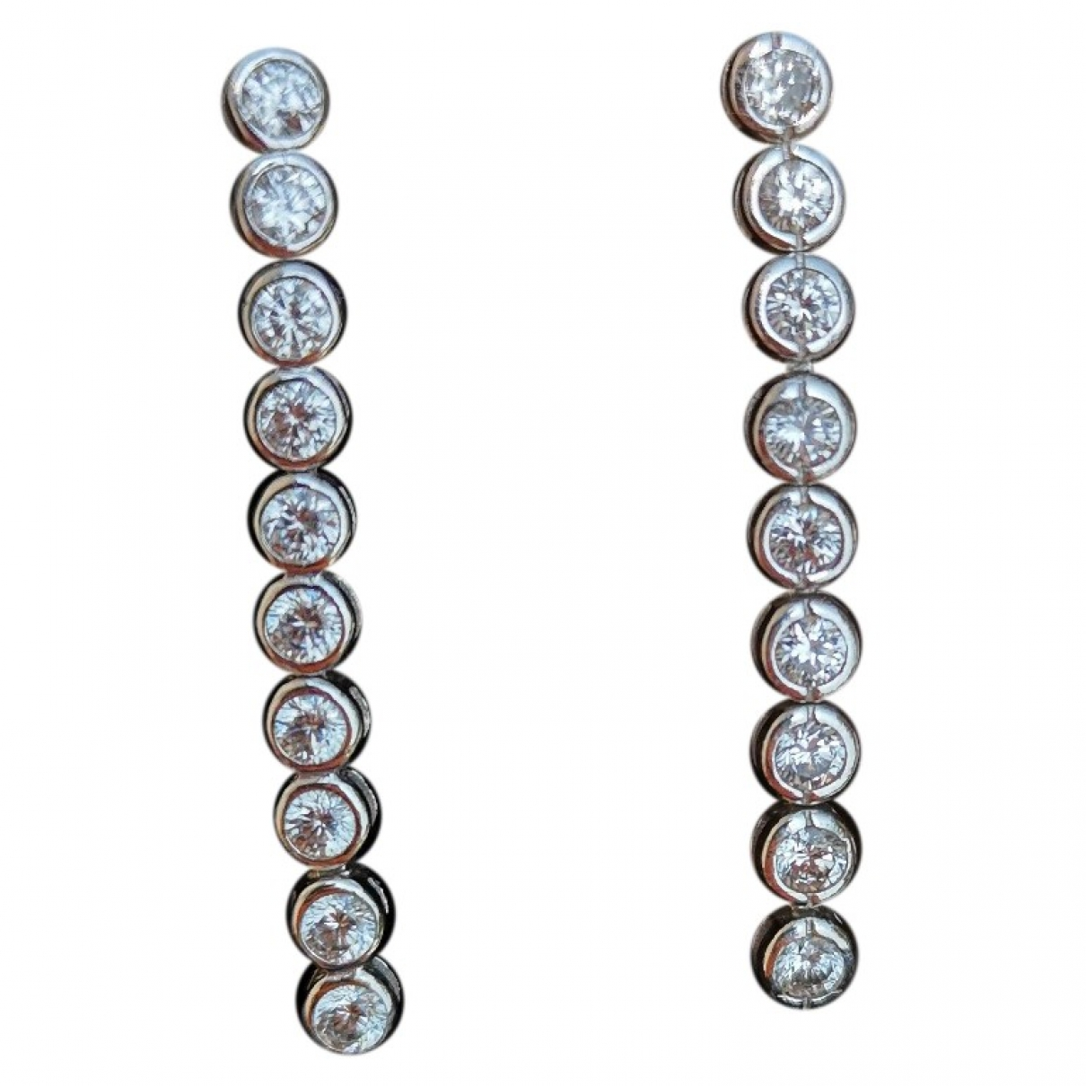Non Signé / Unsigned \N White Silver Earrings for Women \N
