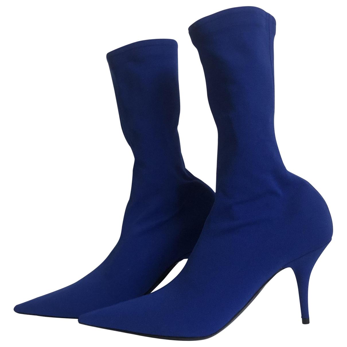 Balenciaga - Boots Knife pour femme en toile - bleu